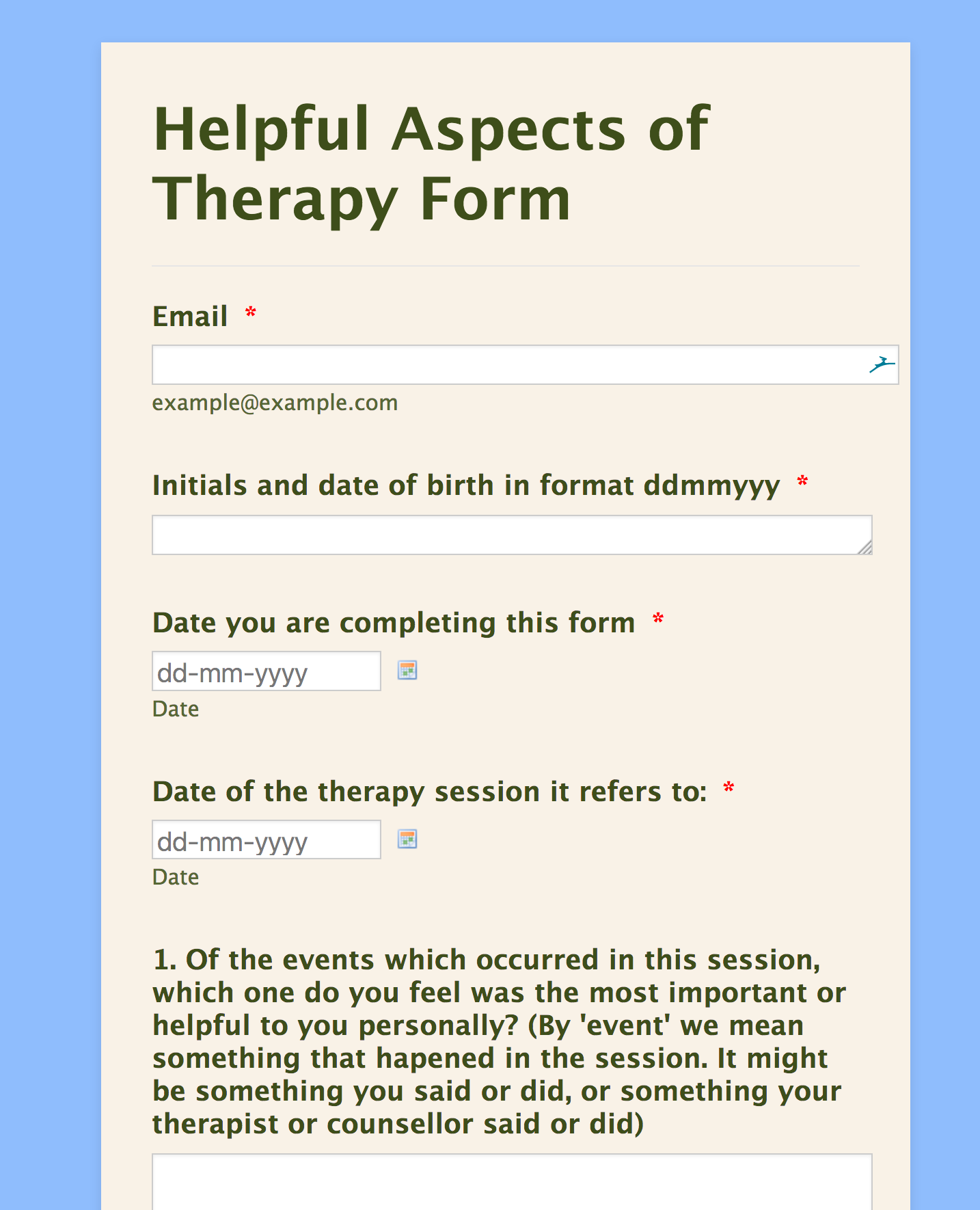 Helpful Aspects of Therapy Form